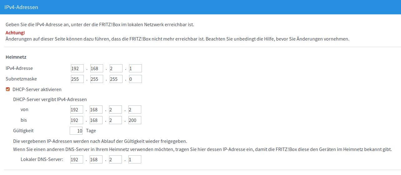Fritzbox IP Adresse ändern