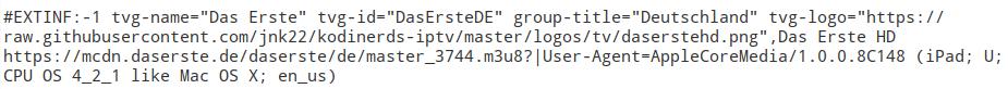 m3u Liste mit EPG