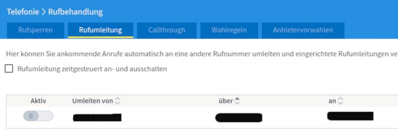 Fritzbox Rufumleitung einrichten