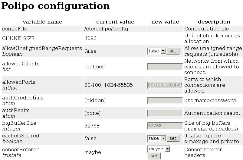 Polipo Konfiguration Weboberfläche