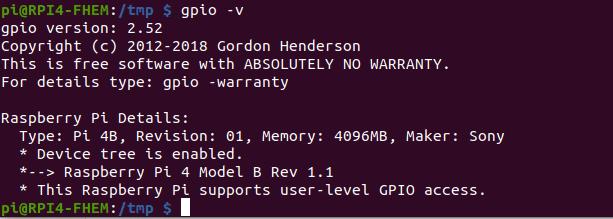Raspberry Pi 4 - WiringPi